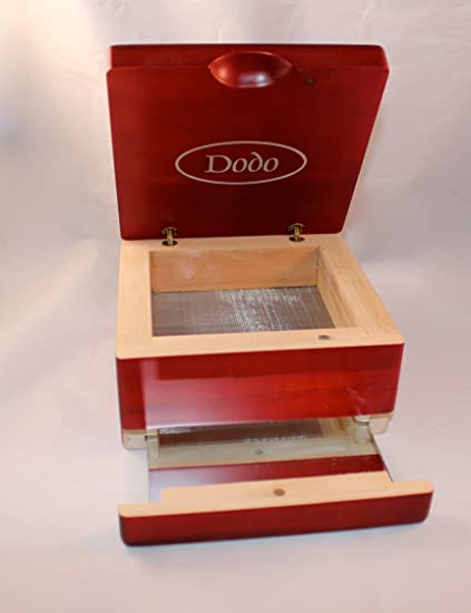 Dodo Pollen Sifter Shaker Cherry Wood Box 6 X 6 X 35 With Magnetic Lid Mirror Tray