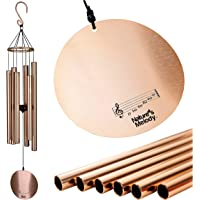 Nature's Melody Aureole Tunes Wind Chimes – Outdoor Windchime with 6 Tubes Tuned to B Pentatonic Scale, 100% Rustproof…