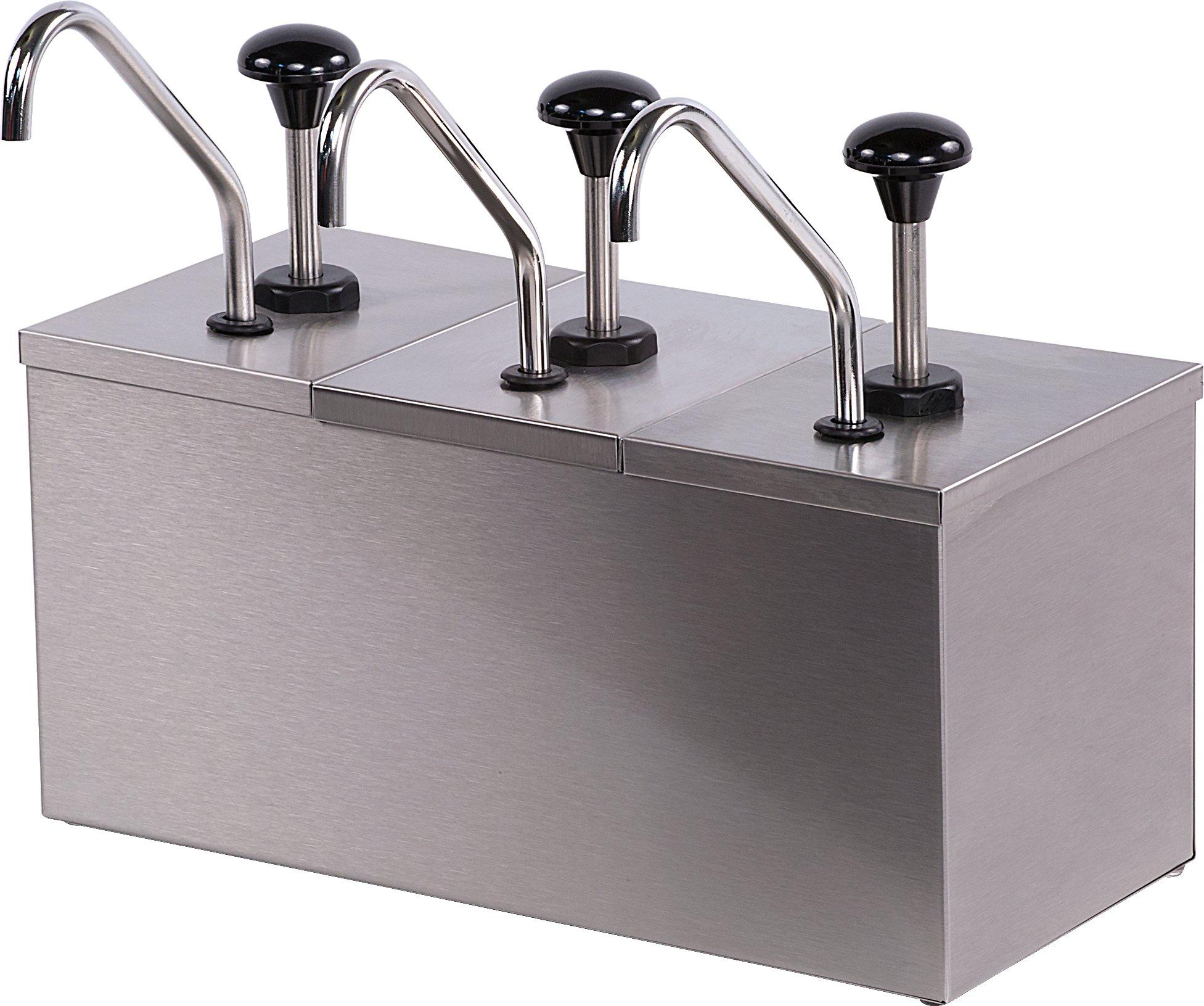 Carlisle 386230IB Insulated Triple Condiment Pump Station with 2 Quart Jars