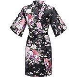 MORFORU Girls Kids Daffodils Silky Satin Kimono Robe Sleepwear for Wedding Spa Party, Short