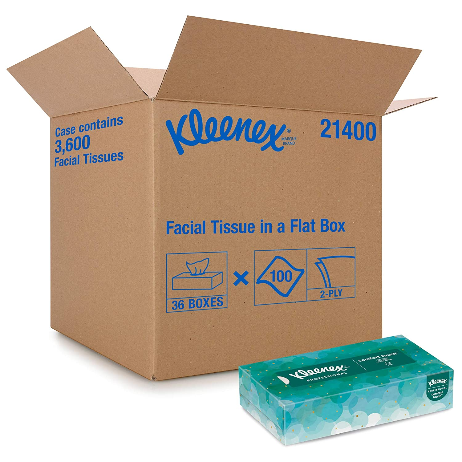 Carton of 36 Boxes White 100 Tissues Per Box Kleenex FSC Certified Pop-Up Boxes 2-Ply Facial Tissue