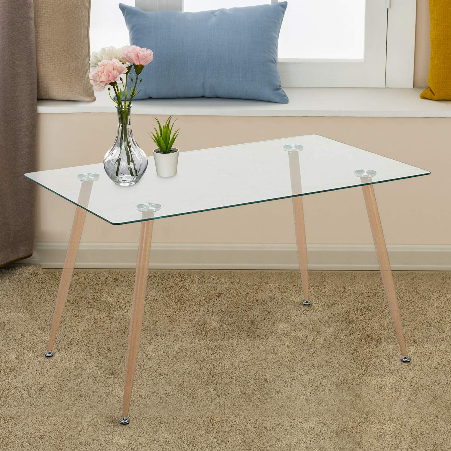 Mecor Dining Table Glass Top and Wooden Look Leg Modern Kitchen Table Rectangular by Mecor (Image #3)