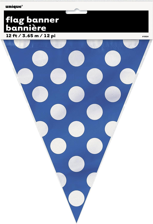 Unique Party 10024-3,6 m Bandierine a Pois Blu Reale