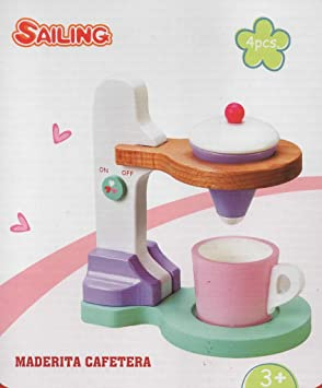 Toy Planet - Cafetera de madera, talla pequeña