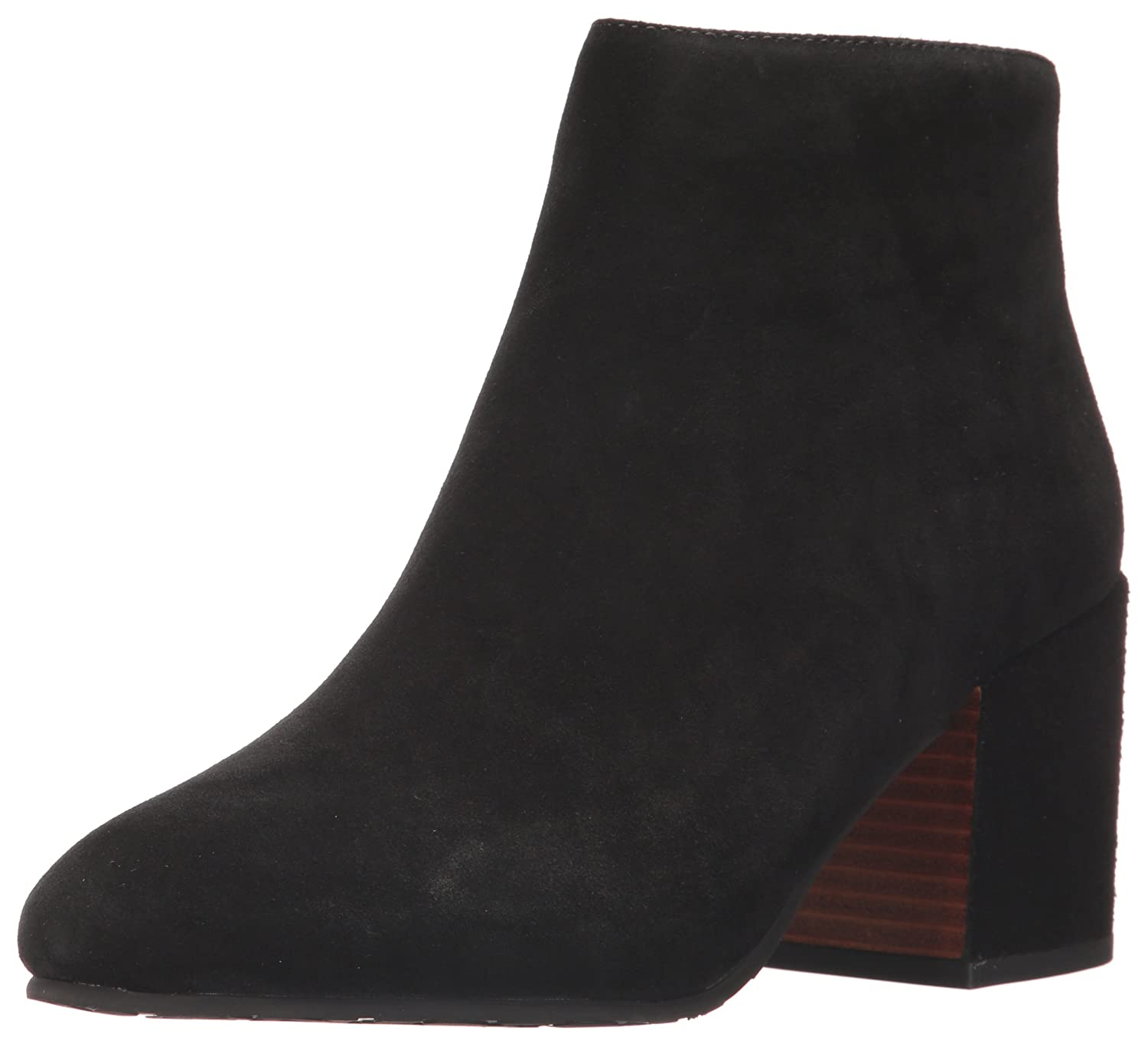 Gentle Souls by Kenneth Cole Women's Blaise Ankle Bootie with Side Zip, Covered Block Heel Suede Ankle Bootie B06XXF828G 11 B(M) US|Black