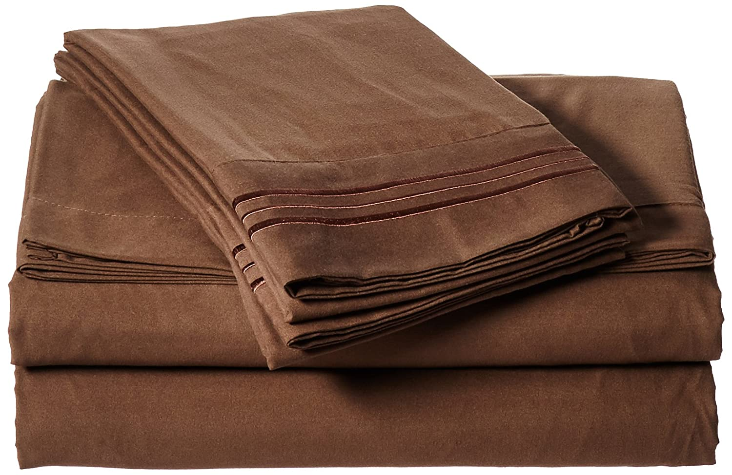 4pc Bed Sheet Set - King, Chocolate Brown