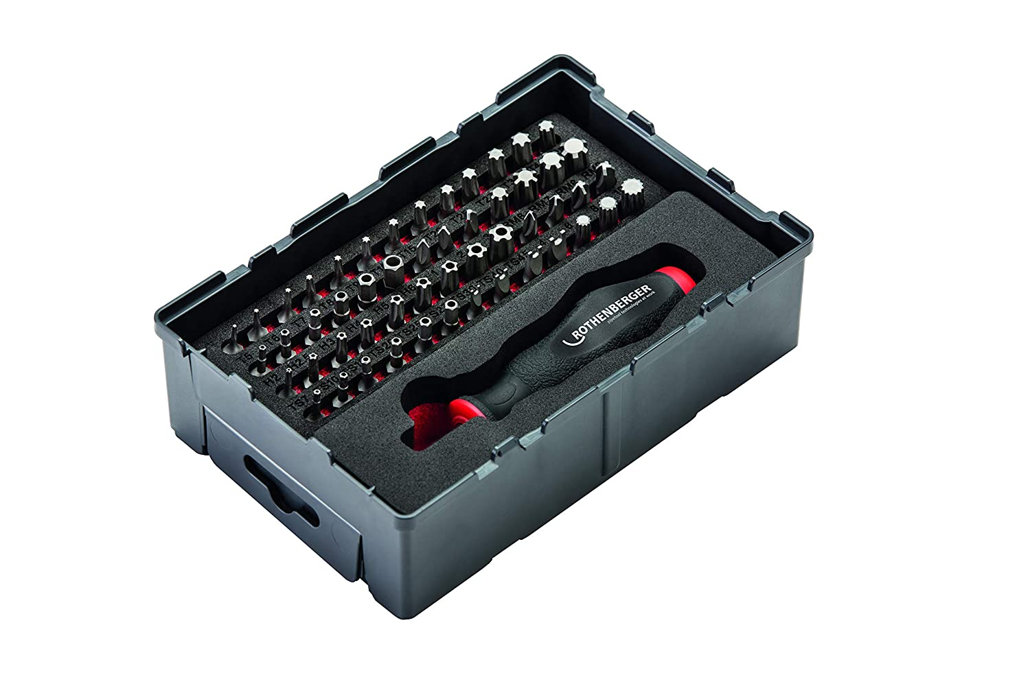 'Rothenberger 1000002181  Safety and Special bit Set 53  Pieces Tool Box 1/4  for Wall Installations and Small Electronics | Reusable Robox | 9  Different Types of Bit Including Torx & Pentalobe Grey