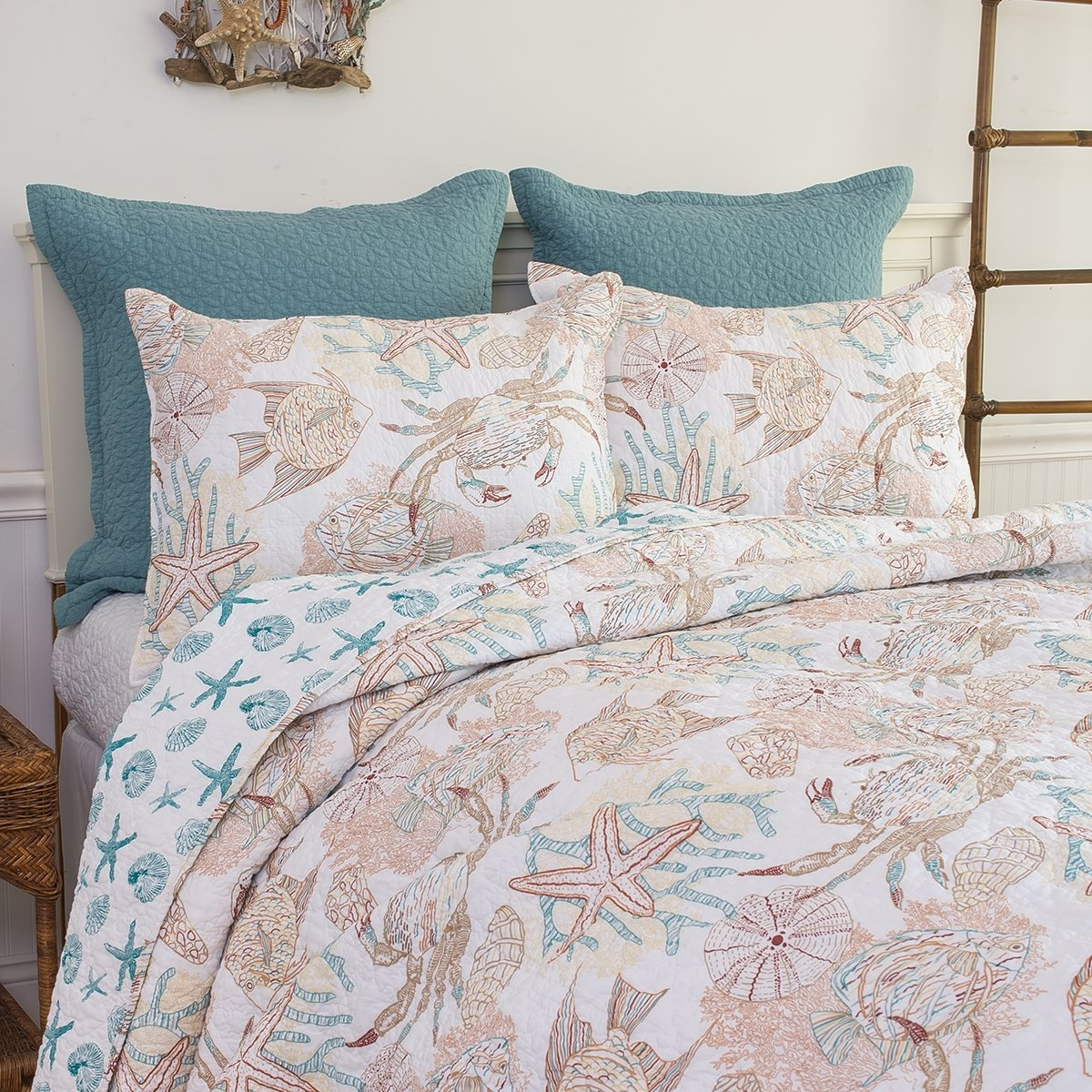 C&F Home Key Biscayne Quilt Set, Full/Queen, Tan