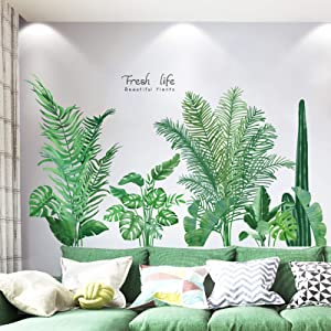 Tropical Plants Leaves Peel and Stick Wall Stickers, TANOKY Waterproof Palm Tree Wall Decal Decor, DIY Wall Art Decor Murals Wallpaper Home Decorations for Living Room Bedroom Door Decor