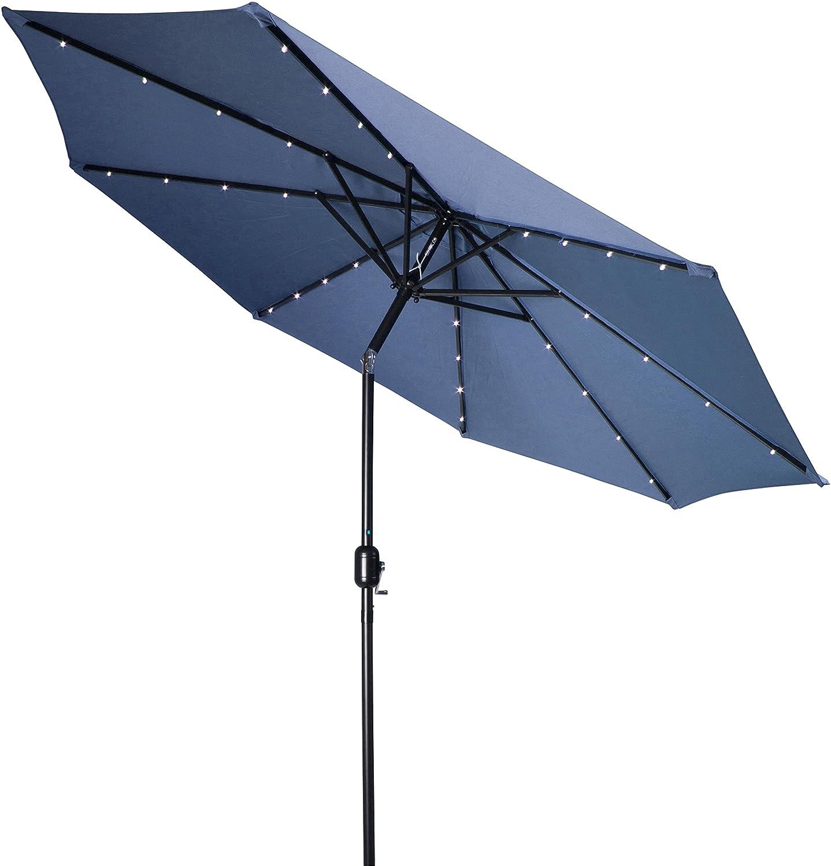Amazon.com : Trademark Innovations Deluxe Solar Powered LED Lighted Patio  Umbrella, 9 Feet : Garden U0026 Outdoor