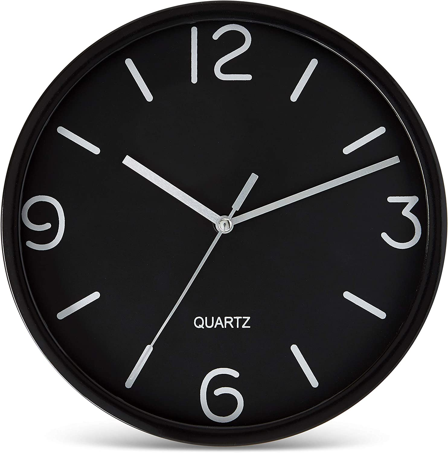 Bernhard Products Black Wall Clock 8 Inch Silent Non Ticking Quartz Battery Operated Easy to Read Decorative Round Sleek Design for Home Kitchen Bedroom Office Living Room Clocks, Silver Numbers