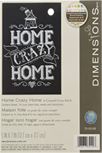 """DIMENSIONS 14 Count Home Crazy Home Mini Counted Cross Stitch Kit, 5"""" by 7"""""""