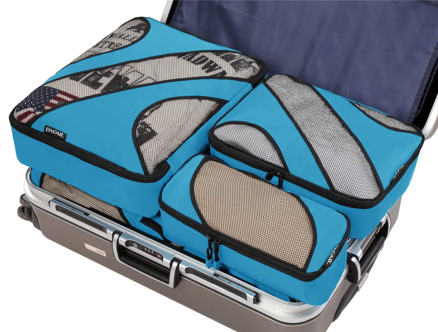 6 Set Packing Cubes,3 Various Sizes Travel Luggage Packing Organizers Blue by BAGAIL (Image #6)