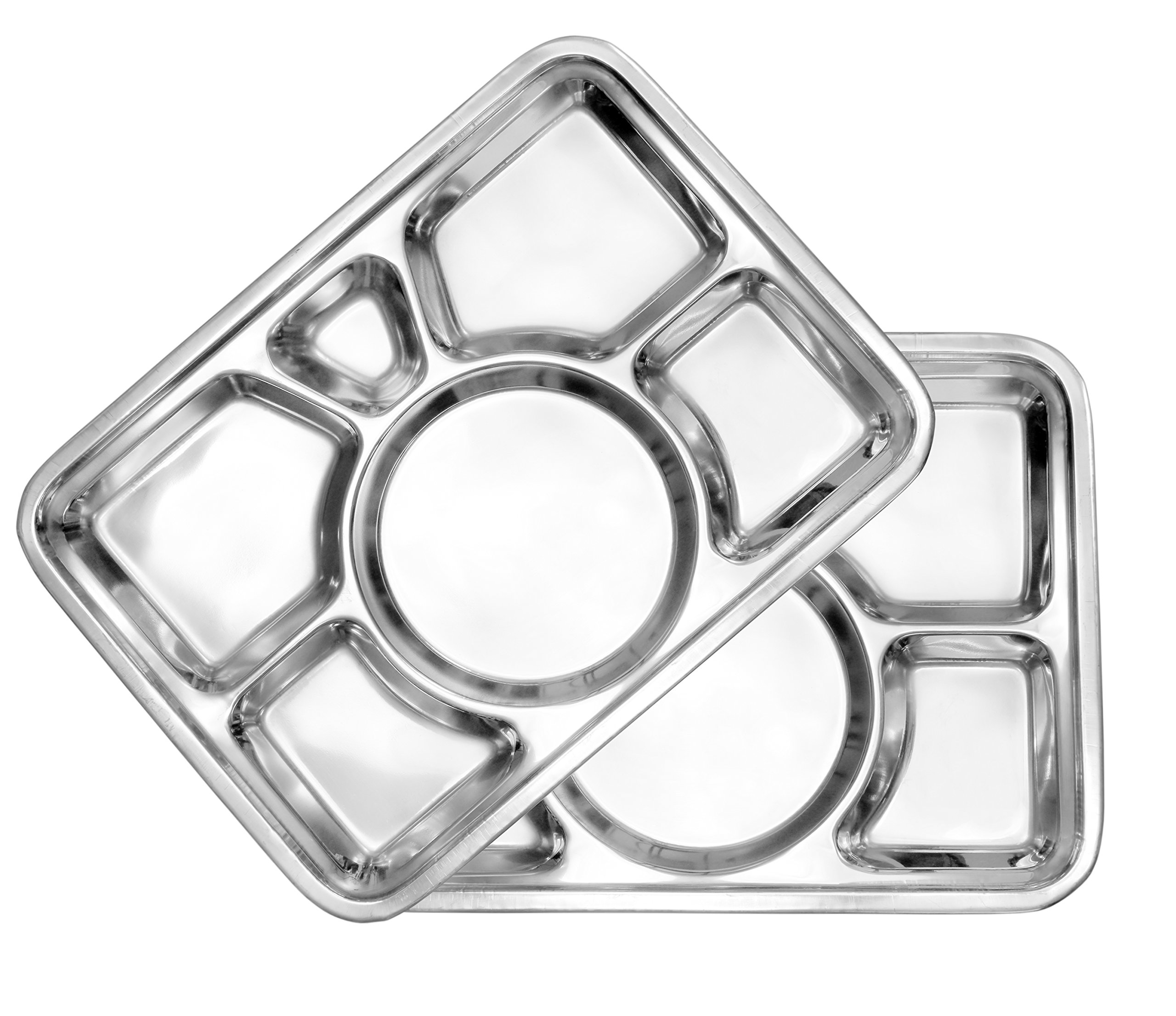 Cafeteria Mess Trays (2-Pack); Stainless Steel 16 In. x 11 In. Rectangular 6-Compartment Divided Plates/Cafeteria Food Trays