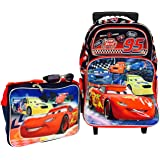 Disney Pixar Cars Large Rolling Backpack and Cars Lunch Bag Set