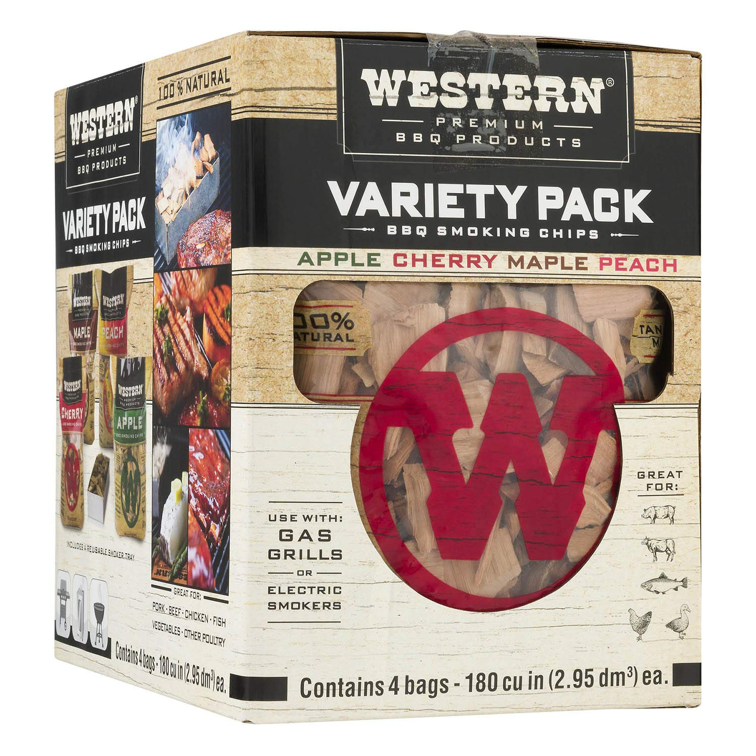 Western Premium BBQ Products BBQ Smoking Chips Variety Pack, 4 Pack by WESTERN