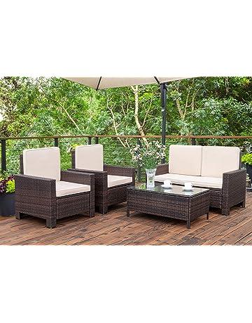 Homall 5 Pieces Outdoor Patio Furniture Sets Rattan Chair Wicker  Conversation Sofa Set, Outdoor Indoor