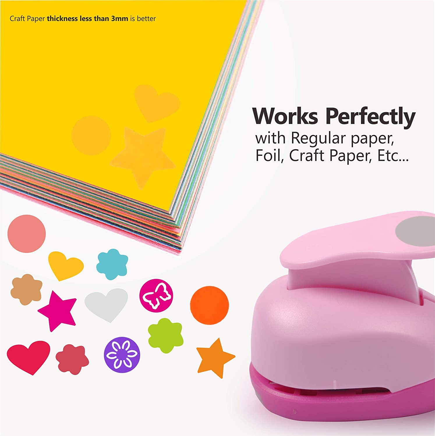 6 Pcs Hole Punch Shapes Lever Punch Includes Circle Heart Star Flower Butterfly Scallop for Kids Adults Pink Craft Punches for Scrapbooking Festival Paper Greeting Card 1 inch Paper Puncher Set