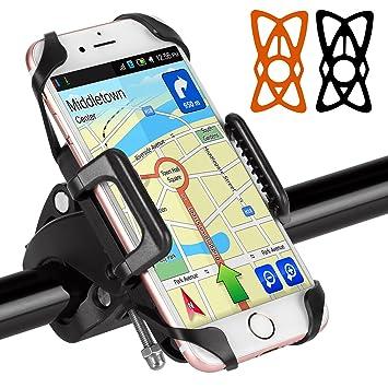 BIGO Soporte Móvil para Bicicleta Motocicleta Universal Apoyo 360 Rotación,con 2 Silicona Banda,