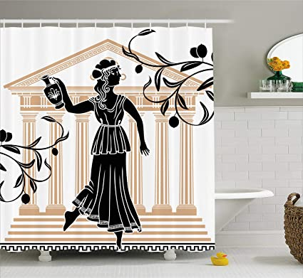 2e825e0df103 Amazon.com: Ambesonne Toga Party Shower Curtain, Greek Woman with ...
