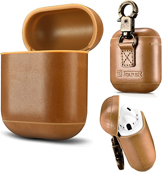 AirPods Leather Case,ICARER Genuine Leather Protective Shockproof Cover for Apple AirPods 1 Case Khaki Front LED is not Visible Airpods 2 Case Support Wireless Charging
