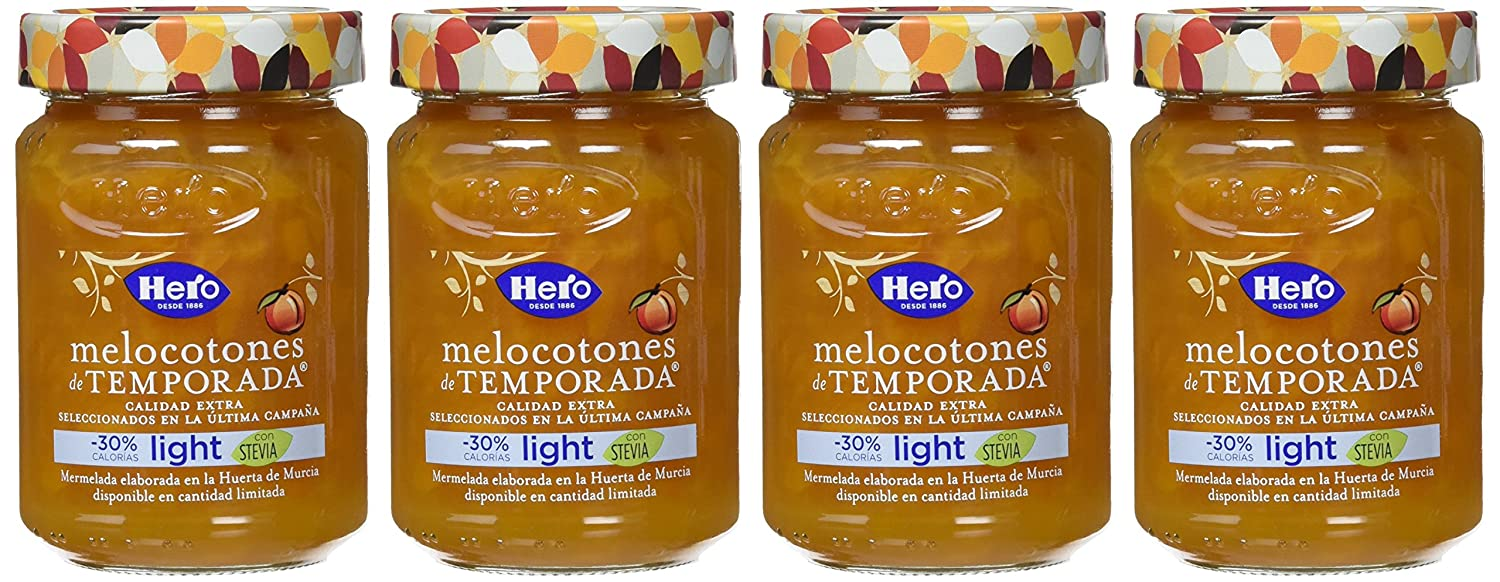 Hero Temporada Light Mermelada Melocotón, Frasco de Cristal - 335 gr - [Pack de 4]: Amazon.es: Alimentación y bebidas