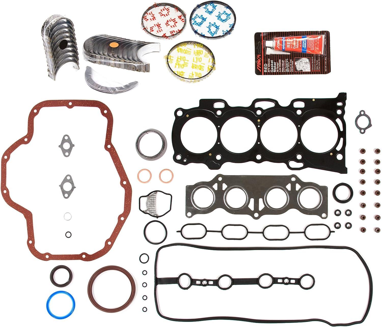 0.50mm 0.020 Oversize Piston Rings 0.25mm Domestic Gaskets Engine Rering Kit FSBRR7010EVE\2\1\1 Fits 98-04 Isuzu Honda Acura 6VD1 6VE1 Full Gasket Set 0.010 Oversize Main Rod Bearings