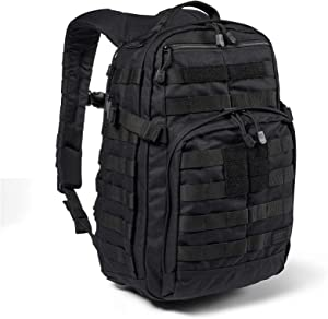5.11 Tactical Backpack – Rush 12 2.0 – Military Molle Pack, CCW and Laptop Compartment, 24 Liter, Small, Style 56561, Black