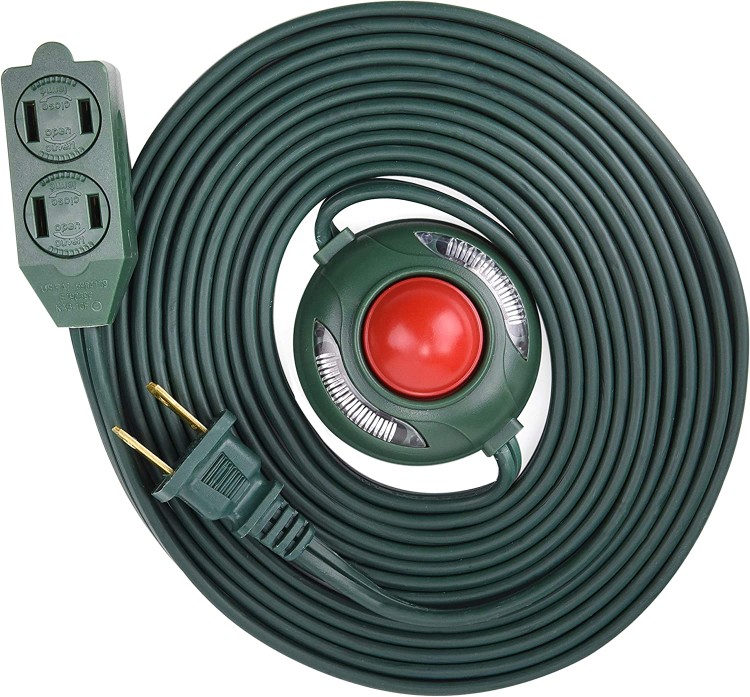 Electes 10 Feet 3 Outlet Extension Cord with Hand/Foot Switch and Light Indicator with Safety Twist-Lock, 16/2, Green, UL Listed (1)