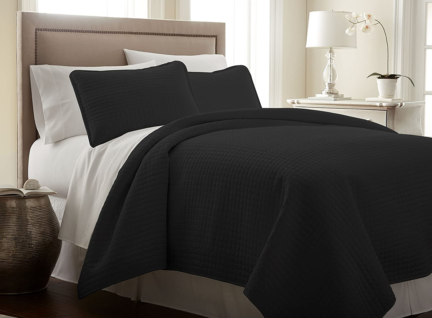 Southshore Fine Linens 3 Piece Oversized Quilt Sets Queen, Black
