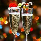 Set di Decorazioni di Natale da 20 Pezzi per Bicchieri per il Vino, Ideali per le Feste di Natale o per il Cenone, Cappuccio di Babbo Natale e Cartoncini Carte Decorative con gli Elfi, 10 per Design
