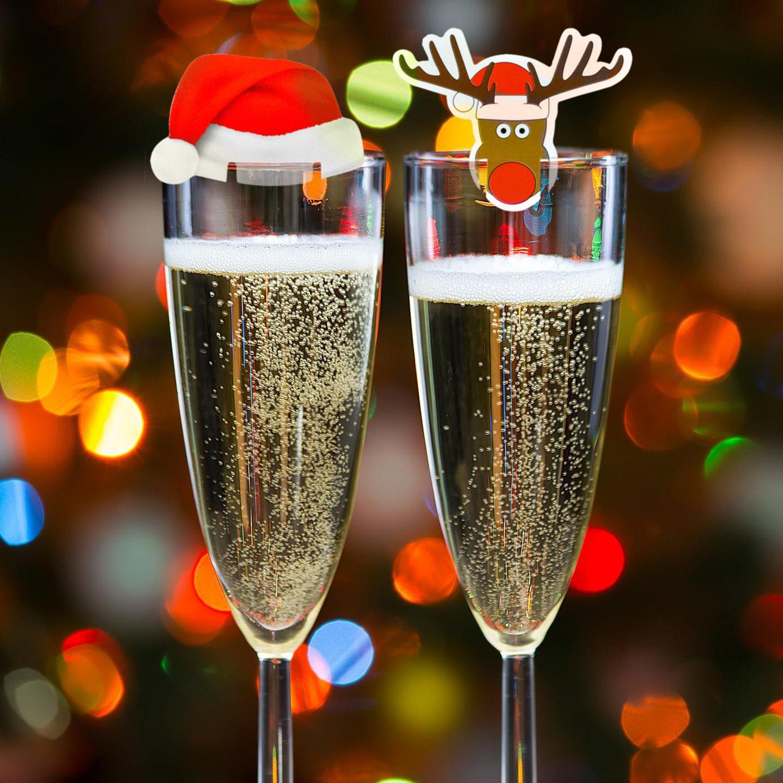Set di Decorazioni di Natale da 20 Pezzi per Bicchieri per il Vino, Ideali per le Feste di Natale o per il Cenone, Cappuccio di Babbo Natale e Cartoncini Carte Decorative con gli Elfi, 10 per Design Kompanion