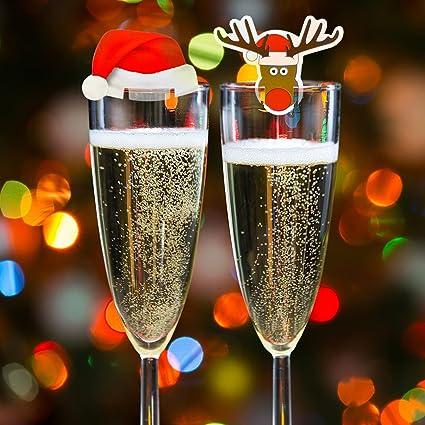 Kompanion 20 Tarjetas de Decoración Para Vaso Copas de Vino de Navidad – Accesorio Ideal para Cena de Celebración Navideña – Articulo Decorativo 10 de ...