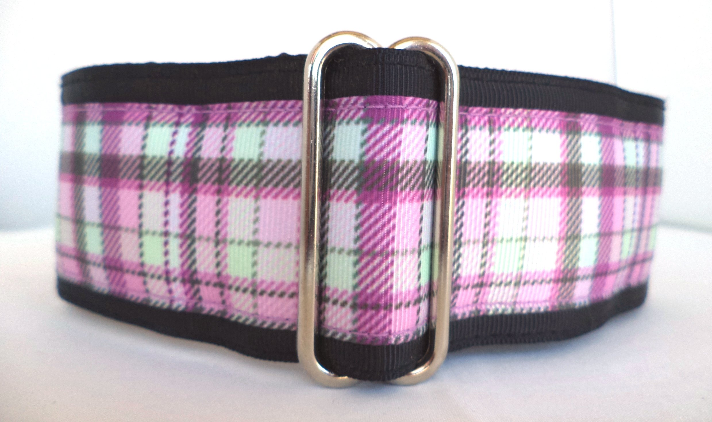 Regal Hound Designs 2'' Wide Martingale Dog Collar, Lined, 2 Sizes: Medium, Large/XL, Purple and Grey Plaid Design (Large/XL 17-26'') by Regal Hound Designs