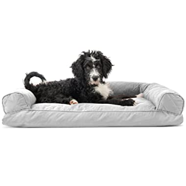 Furhaven Dog Bed | Quilted Pillow Cushion Sofa-Style Living Room Couch Pet Bed for Dogs & Cats, Silver Gray, Large