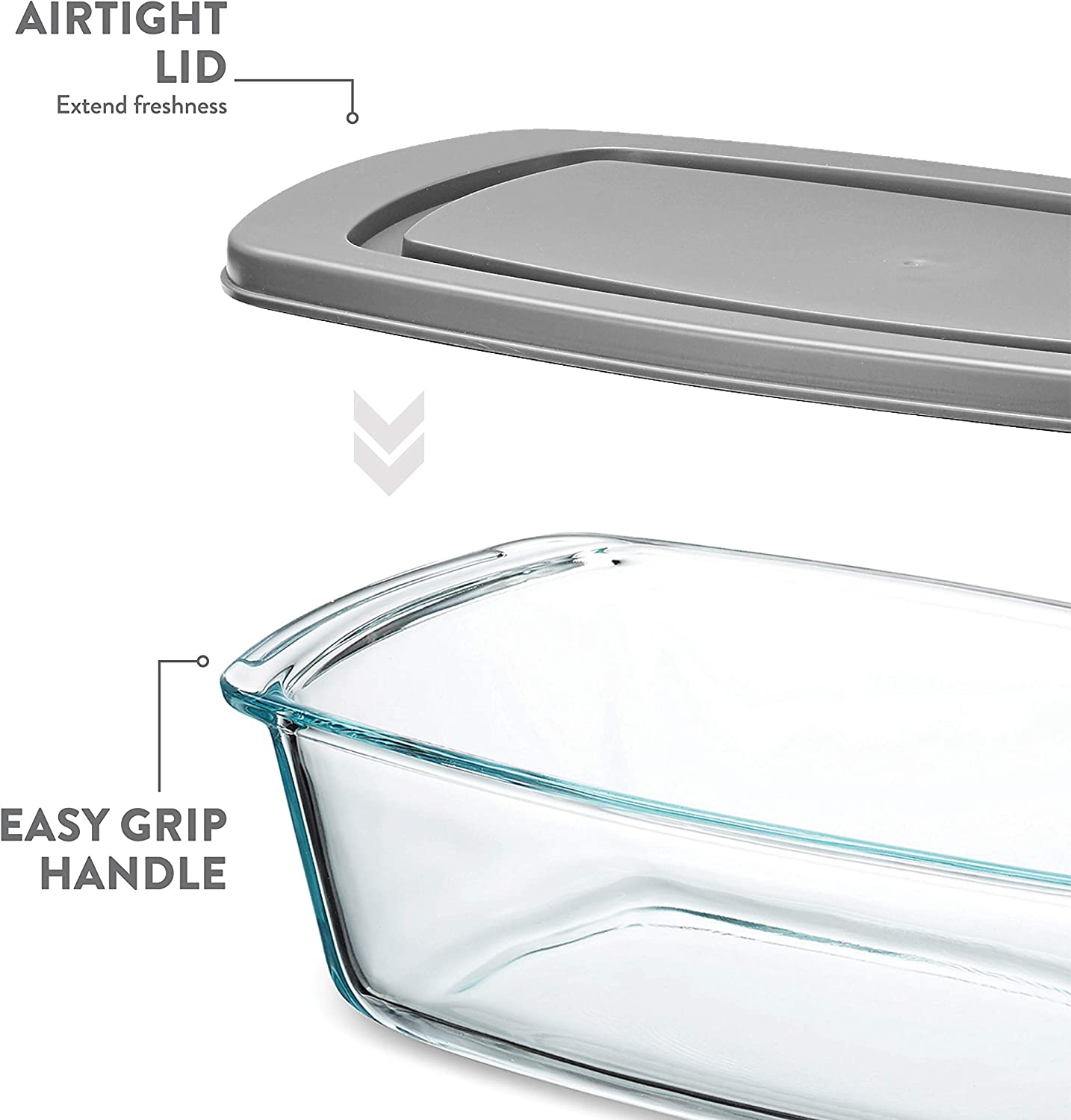 Loaf Pans For Baking Bread Superior Glass Loaf Tin With Cover 2 Piece Meatloaf Pan With BPA-free Airtight Lids Grip Handles for Easy Carry from Hot Oven To Table Pasta. Cakes