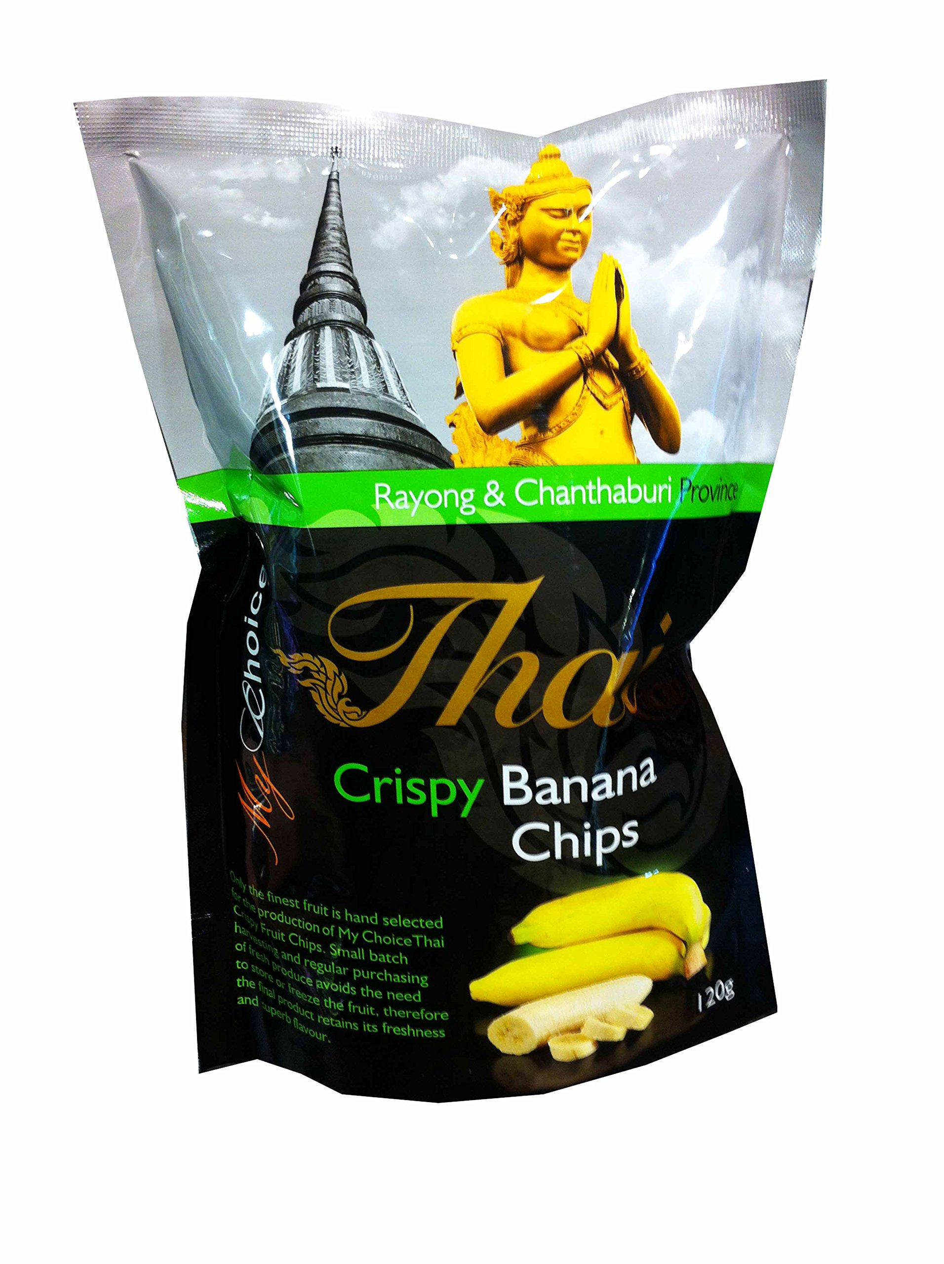 2 Packs of Crispy Banana Chips, Delicious Fruit Snack From My Choice Thai Brand, 4 or 5 Strar Otop Rating Approved. (120 G/Pack)