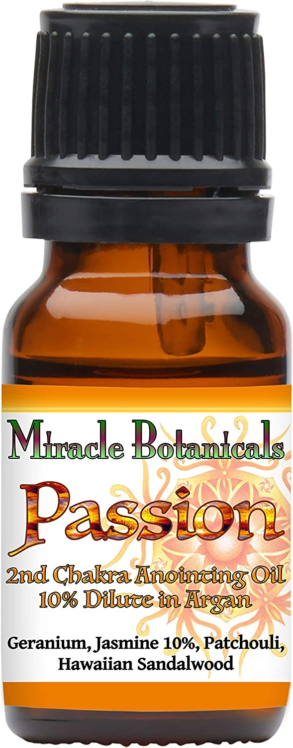 Miracle Botanicals Passion Annointing Oil - 10% Essential Oil Sacral Chakra Synergy Blend in a Golden Argan Oil Base 10ml