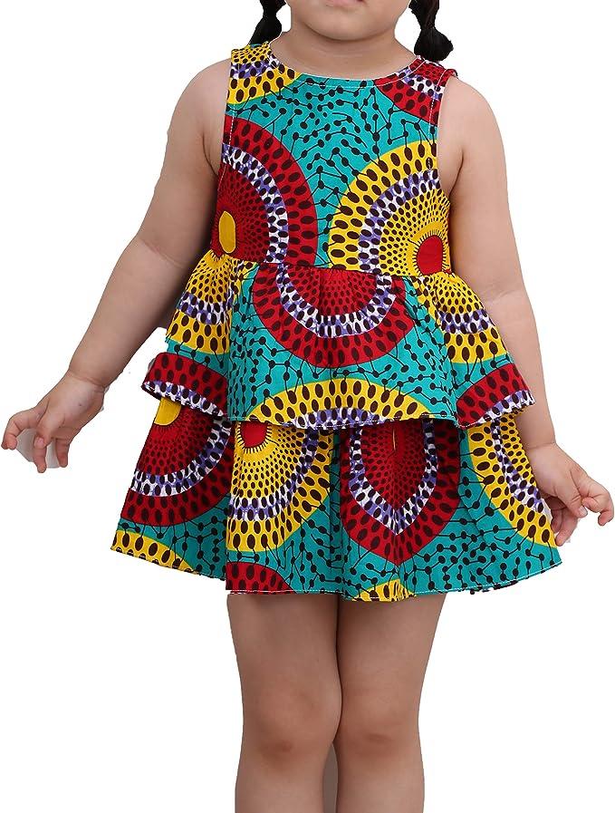 Amazon.com: Vestido para niña con estampado africano ...
