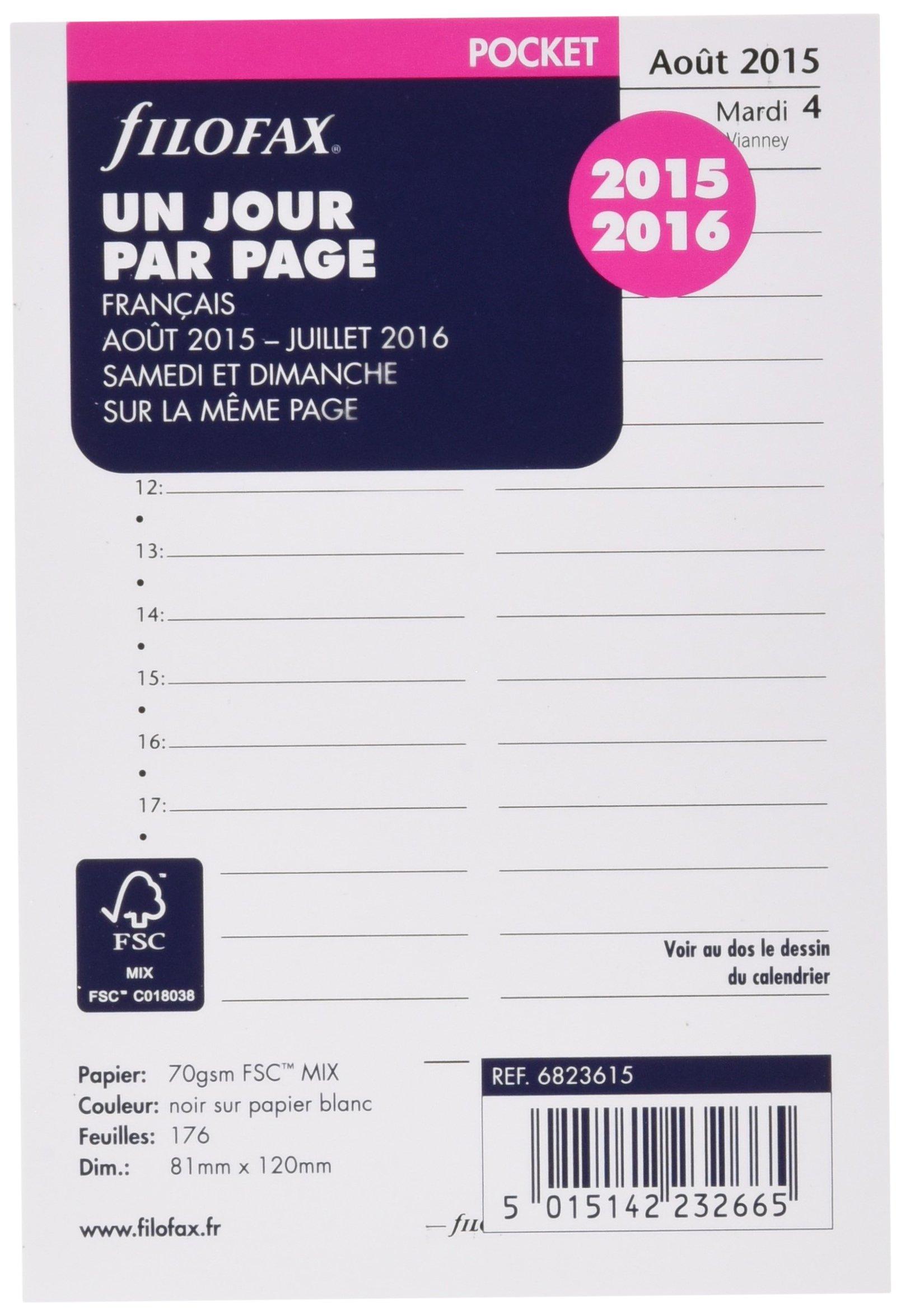 Filofax Day per Page Organizer Refill 2015/2016White