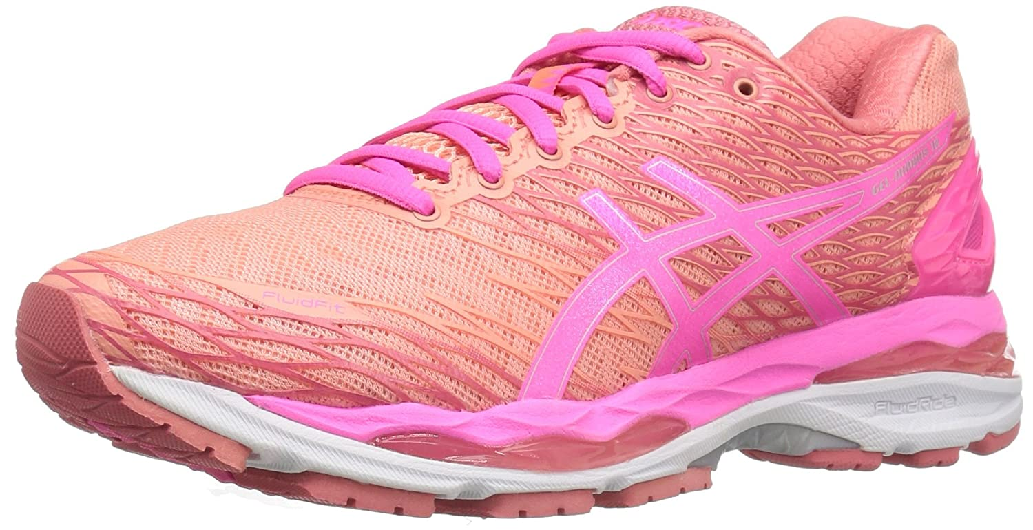 ASICS Women's Gel-Nimbus 18 Running Shoe B01D19GG9A 5 B(M) US|Peach Melba/Hot Pink/Guava