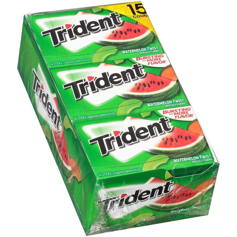 Trident Sugar Free Gum, Watermelon Twist, 14 Pieces, 15 Packs