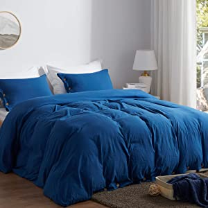 SunStyle Home Queen Size Duvet Cover Set with Buttons Closure-Navy Blue Washed 100% Microfiber,3 Pieces Solid Color Ultra Soft Skin-Friendly Comforter Cover Set,(1 Duvet Cover +2 Pillowcases)
