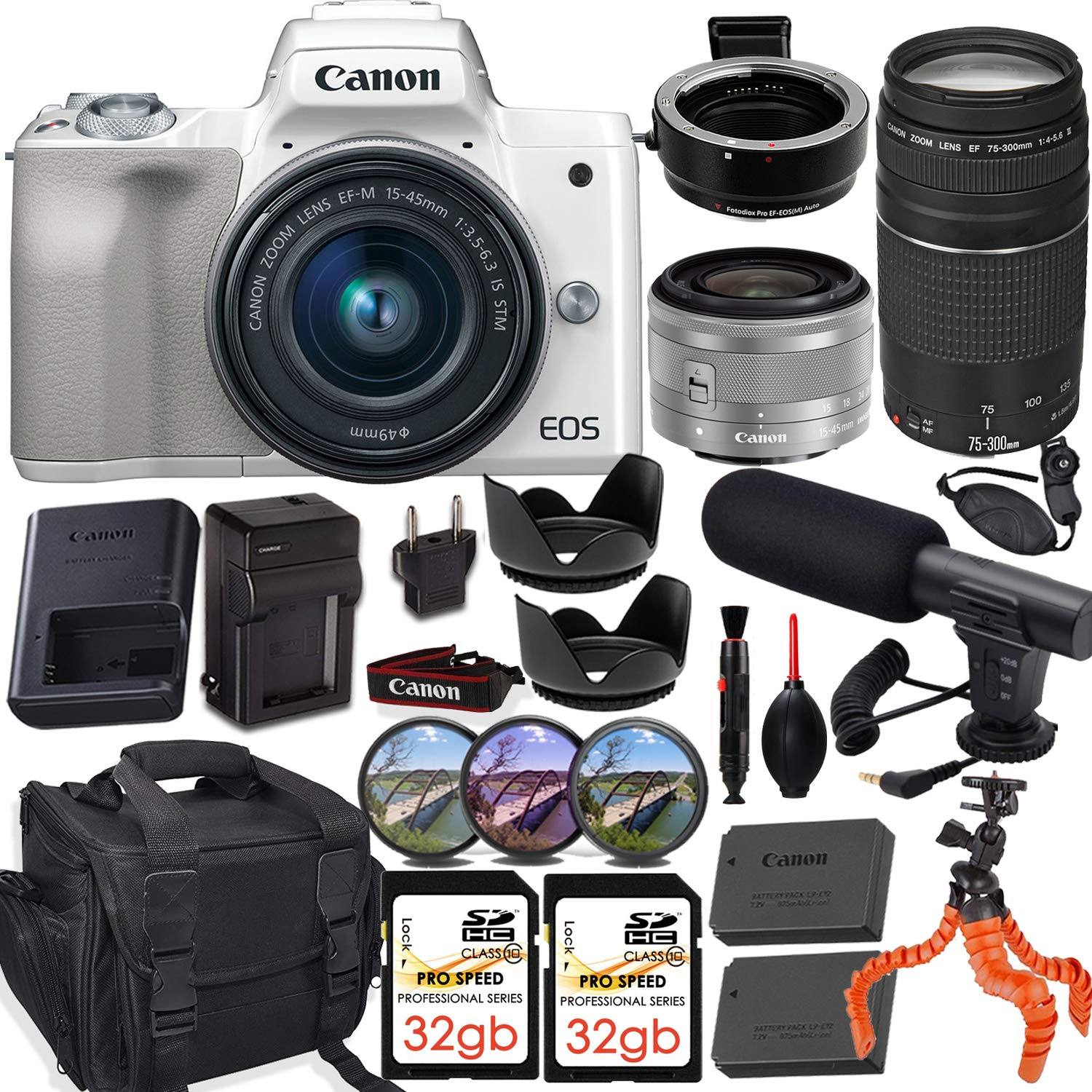 Canon EOS M50 Mirrorless Camera (White) w/Canon 15-45mm f/3.5-6.3 is STM & EF 75-300mm f/4-5.6 III Lens + M-Adapter & Exclusive Video-Accessory Bundle