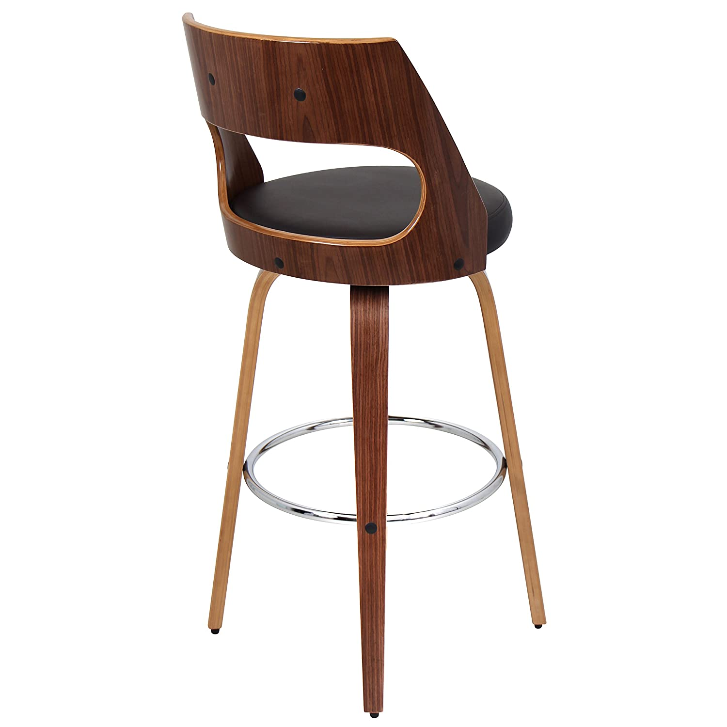 Prime Woybr Pu Leather Bent Wood Cecina Barstool 41 X 17 X 18 5 Walnut Brown Caraccident5 Cool Chair Designs And Ideas Caraccident5Info