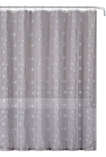 Emily Decorative Sheer Fabric Shower Curtain Gray Silver Embroidered Flowers70 X 72