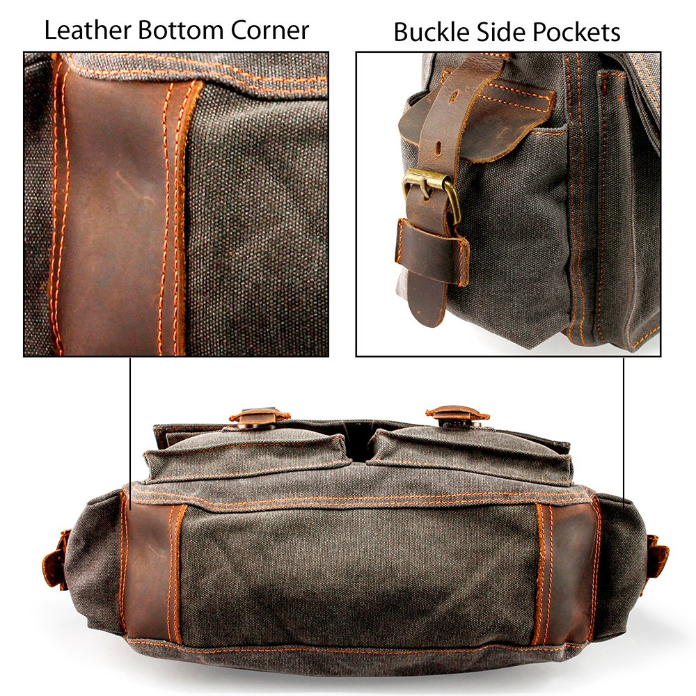 dabd6a84dc00 GEARONIC Mens Canvas Leather Messenger Bag for 14