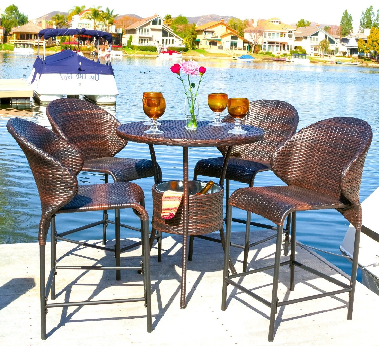 amazoncom bennett outdoor 5pc bistro bar set w ice pail kitchen u0026 dining
