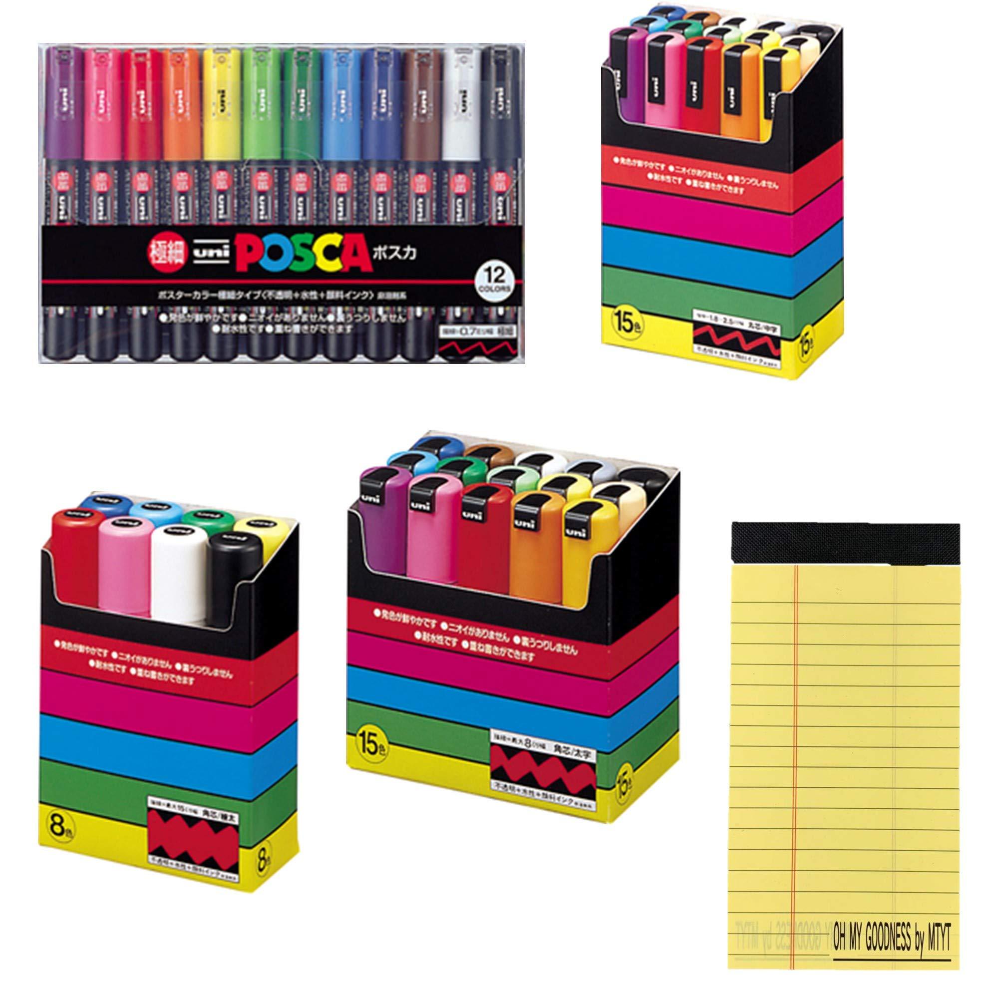 Posca Extra fine 12 Color Set( PC-1M12C)+Bold Square core 15 Colors Set( PC-8K 15C )+Medium Character Round core 15 Colors Set( PC-5M 15C)+Very Thick Square core 8 Color Set( PC-17K 8C)+ memo pad by Mitsubishi Pencil Co., Ltd.