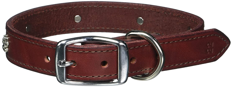 Leather Bredhers 1 x 22-Inch Paw Print Latigo Dog Collar, Large, Burgundy